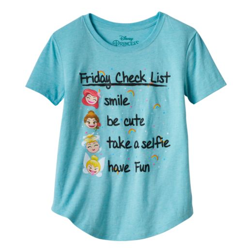 "Disney Princess Girls 7-16 ""Friday Check List"" Graphic Tee"