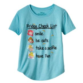 "Disney Princess Girls Plus Size ""Friday Check List"" Graphic Tee"