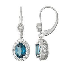 Sterling Silver London Blue Topaz & Diamond Accent Halo Drop Earrings
