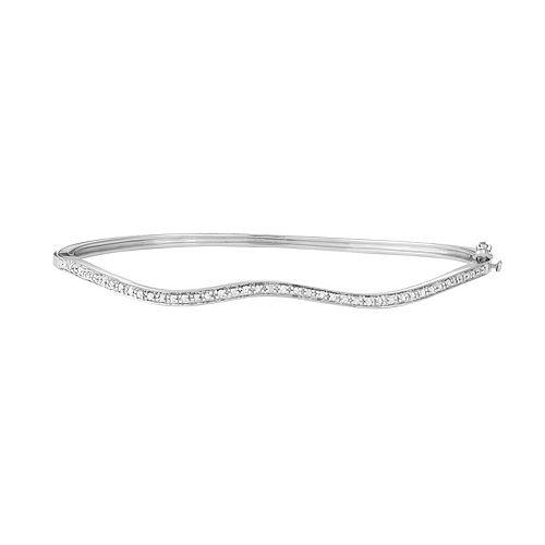 Sterling Silver 1/10 Carat T.W. Diamond Wave Bangle Bracelet