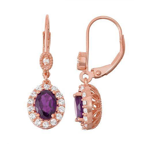 14k Rose Gold Over Silver Purple Amethyst & Diamond Accent Halo Drop Earrings