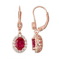 14k Rose Gold Over Silver Lab-Created Ruby & Diamond Accent Halo Drop Earrings