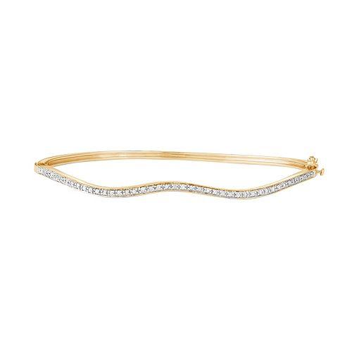 14k Gold Over Silver 1/10 Carat T.W. Diamond Wave Bangle Bracelet