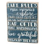 """Lake Rules"" Box Sign Art"