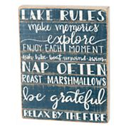 'Lake Rules' Box Sign Art