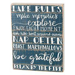 'Lake Rules' Box Sign Art