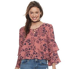 Juniors' Liberty Love Floral Lace-Up Ruffle Sleeve Top