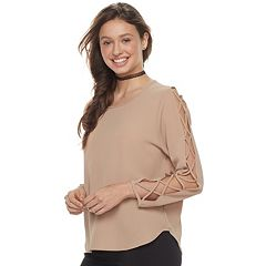 Juniors' Liberty Love Lattice Sleeve Top