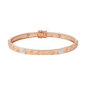 14k Rose Gold Over Silver 1/3 Carat T.W. Diamond Filigree Bangle Bracelet