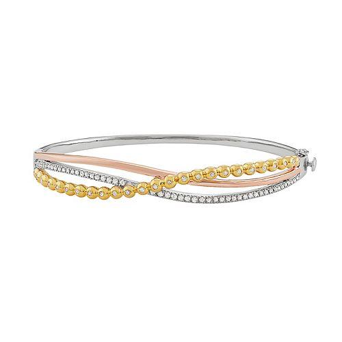 Tri Tone Sterling Silver 1/2 Carat T.W. Diamond Crisscross Bangle Bracelet
