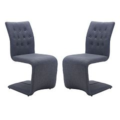 Zuo Modern Upholstered Geometric Dining Chair 2 pc Set