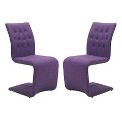 Zuo Modern Upholstered Geometric Dining Chair 2-piece Set