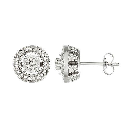 Sterling Silver 1/10 Carat T.W. Diamond Halo Stud Earrings