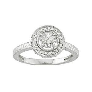 Sterling Silver 1/10 Carat T.W. Diamond Halo Ring