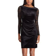 Women's Chaps Lace-Sleeve Velvet Shift Dress