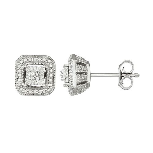 Sterling Silver Diamond Accent Square Halo Stud Earrings
