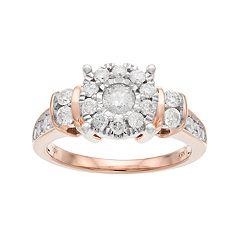 10k Gold 1 Carat T.W. Diamond Flower Engagement Ring