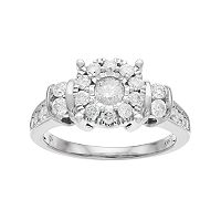 10k Gold 1 Carat T.W. Diamond Flower Engagement Ring