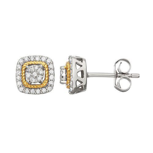 Two Tone Sterling Silver 1/4 Carat T.W. Diamond Square Halo Stud Earrings