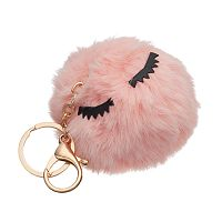 Eyelashes Pom Pom Key Chain