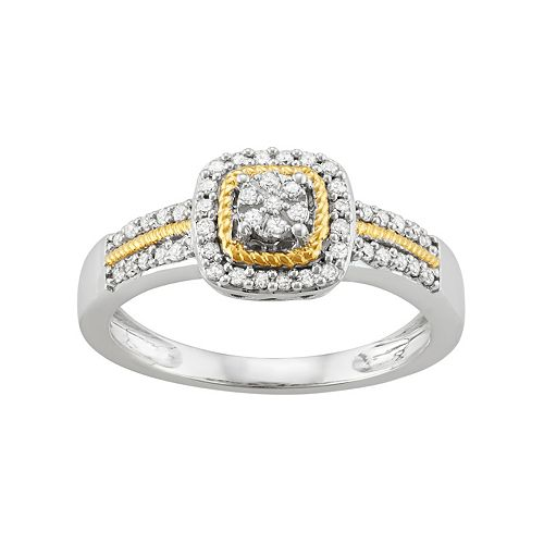 Two Tone Sterling Silver 1/4 Carat T.W. Diamond Square Halo Ring