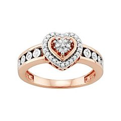 14k Rose Gold Over Silver 1/5 Carat T.W. Diamond Heart Ring