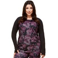 Plus Size Hottotties by Terramar Ashley Raglan Long Sleeve Top