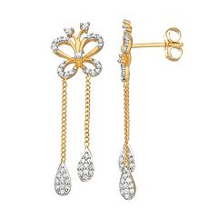 14k Gold Over Silver 3/8 Carat T.W. Diamond Butterfly Drop Earrings