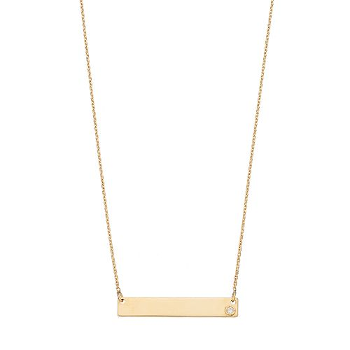 10k Gold Diamond Accent Bar Link Necklace
