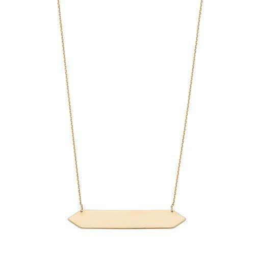 14k Gold Geometric Bar Link Necklace
