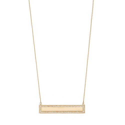 14k Gold 1/3 Carat T.W. Diamond Bar Link Necklace
