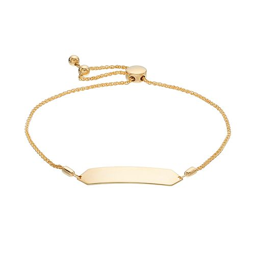 14k Gold Geometric Bar Link Bolo Bracelet