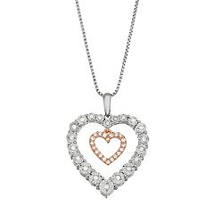 Two Tone Sterling Silver 1/5 Carat T.W. Diamond Double Heart Pendant