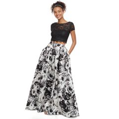 Juniors' Speechless Lace & Floral 2-Piece Prom Dress