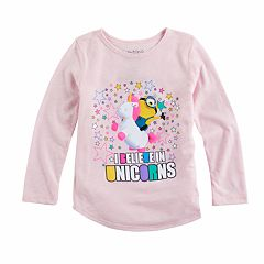 Toddler Girl Jumping Beans® Minions 'I Believe In Unicorns' Long Sleeve Graphic Tee