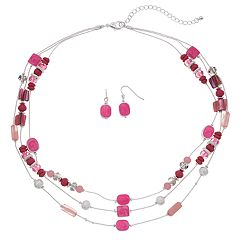 Pink Multi Strand Beaded Necklace & Drop Earrings Set