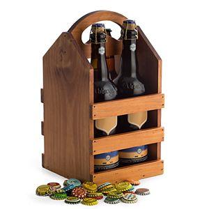 Bey-Berk Wood Four Pint-Bottle Caddy