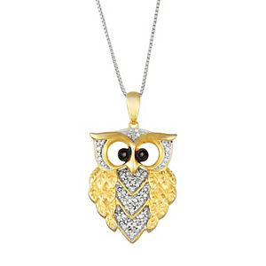 Sterling Silver 1/6 Carat T.W. Black & White Diamond Owl Pendant