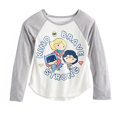 Toddler Girl Jumping Beans® DC Comics Batman, Wonder Woman & Super Girl 'Kind Brave Strong' Raglan Graphic Tee