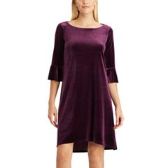 Petite Chaps Velvet Bell-Sleeve Dress