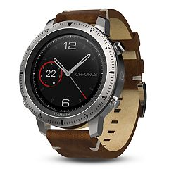 Garmin fenix Chronos GPS Watch with Leather Watch Band