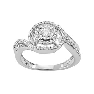 Sterling Silver 3/8 Carat T.W. Diamond Halo Engagement Ring