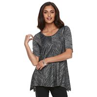 Women's Dana Buchman Marled Shark-Bite Hem Top
