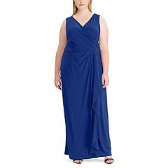 Plus Size Chaps Ruffled Evening Gown
