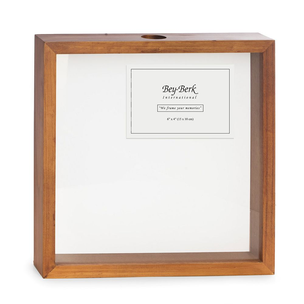 Bey-Berk Wood Bottle Cap Shadow Box with Picture Frame
