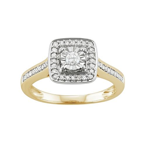 14k Gold Over Silver 1/3 Carat T.W. Diamond Square Halo Engagement Ring