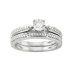 Sterling Silver 1/4 Carat T.W. Diamond Engagement Ring Set