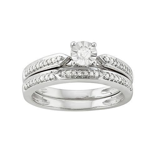 Sterling Silver 1/4 Carat T.W. Diamond Engagement Ring Set