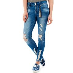 Juniors' Wallflower Luscious Ripped Curvy Ankle Jeans