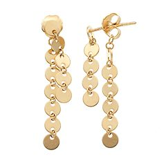 14k Gold Circle Link Front-Back Earrings